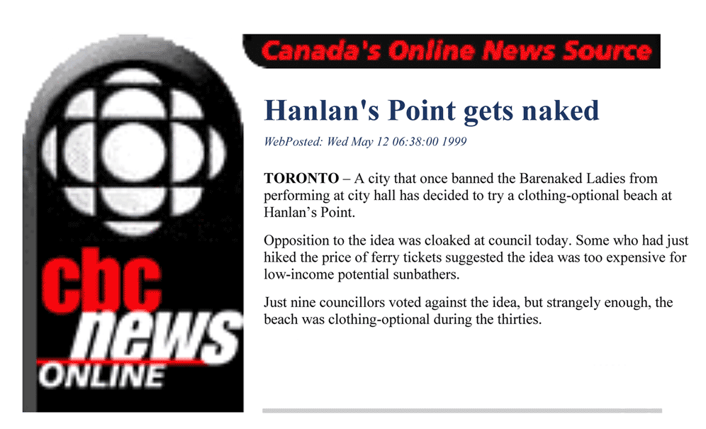 CBC News 1999-05-12 - Simm convinces Toronto Council to create official clothing-optional zone at Hanlan's Point